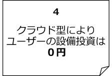 クラウド型によりユーザーの設備投資は0円